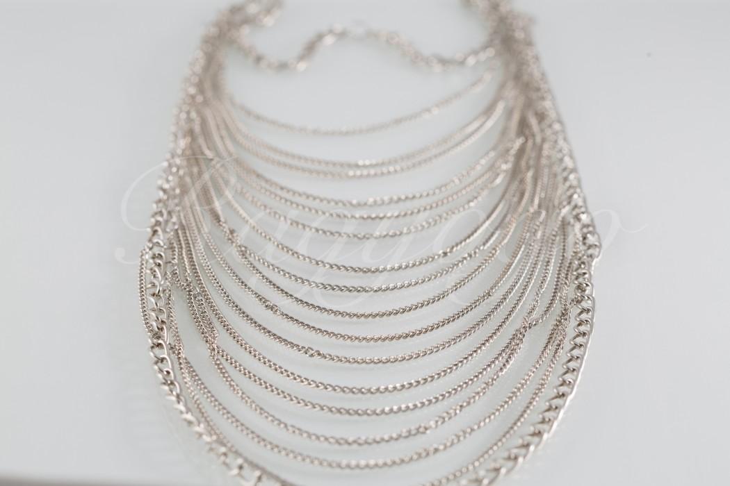 bd2112964166 57b Többsoros fém nyaklánc - ezüst